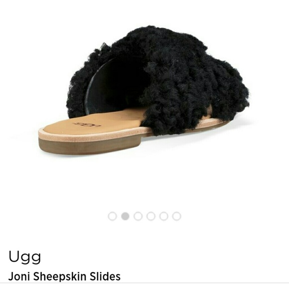 a996515b001 UGG JONI SLIDES SHEEPSKIN BLACK 8.5